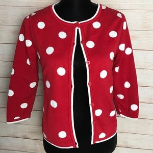 Pendleton polka dot red cardigan 3/4 sleeve